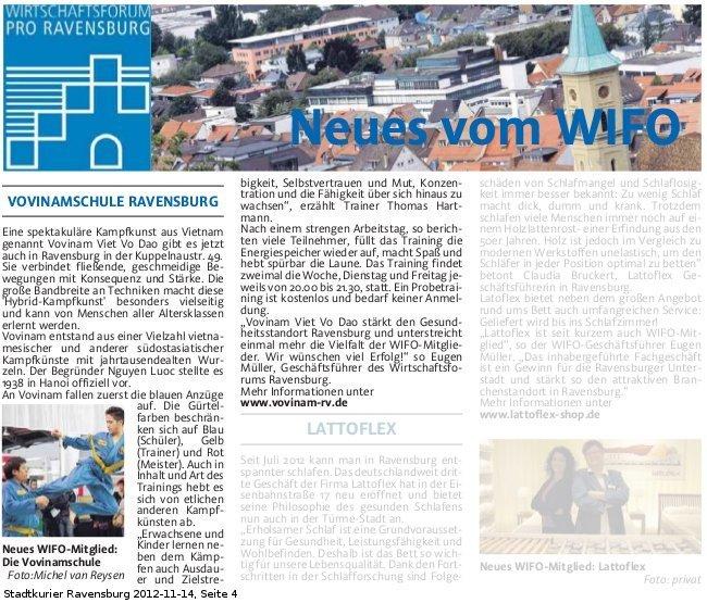 Zeitungsartikel 2012-11-14 Stadtkurier Ravensburg