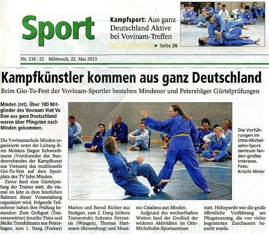 Zeitungsbericht Vovinam Trainingslager Minden 2013